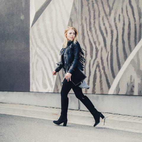 Outfit: Fringe jacket & black boots