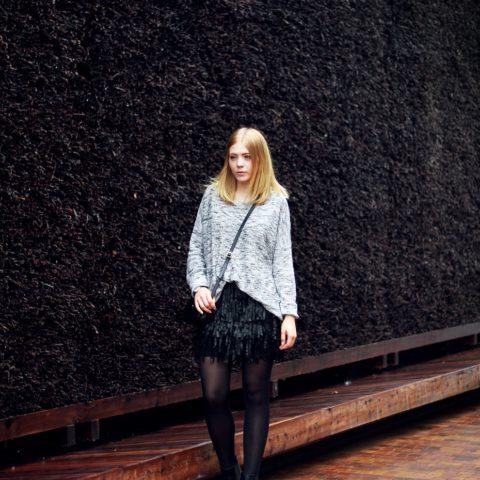 Outfit: Black fringe skirt & RLL Bag