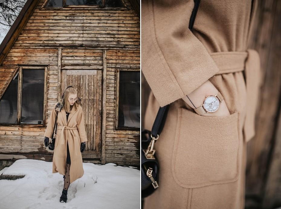 Beżowy płaszcz zimowy stylizacje