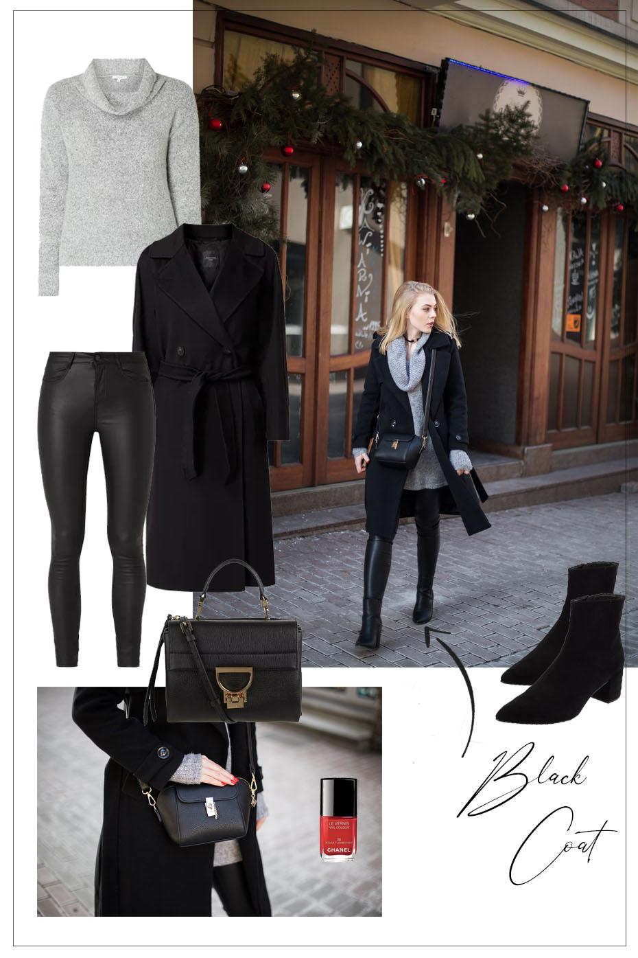 Czarny płaszcz oversize