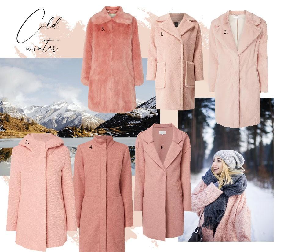 pudrowy płaszcz zimowy