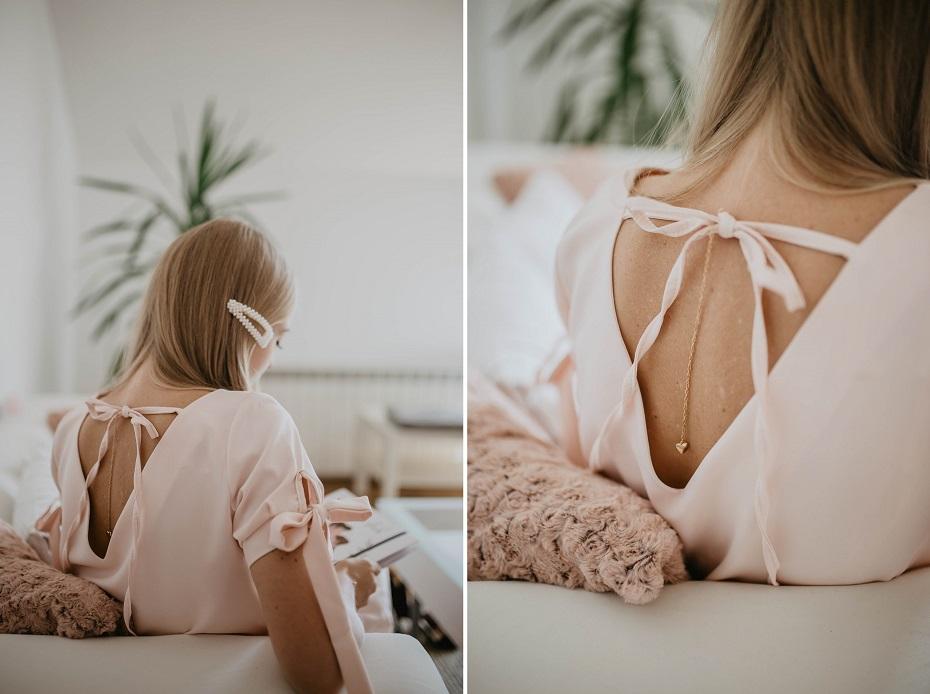 Pudrowa sukienka na ślub